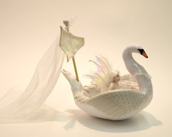 "Swan Boat Fairy, Swan Faery Sculpture, Swan Maiden, OOAK Angel Fairy, ""Aoife and the Swan Boat"""