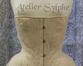 Ivory light yellow dots pattern edwardian underbust boned coutil corset based on historical pattern