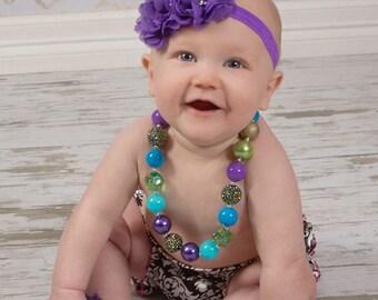 Purple Chiffon Headband/ Baby Shabby Headband/ Flower Headband/ Purple Headband/ Baby Headband/ Rhinestone Headband/ Girls Headband/ Newborn