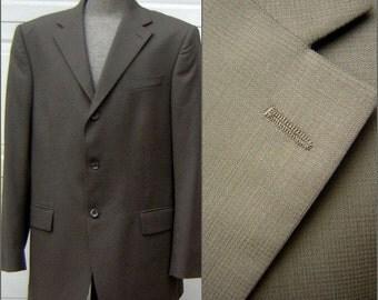Mens Sport Coat Suit Jacket Oscar De La Renta Taupe Fine Wool Size 44L Cool Retro Iridescent Sharkskin Lining