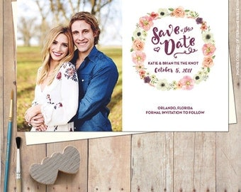 Save the date magnet, save the date postcard, rustic save the date, photo save the date, custom save the date, save the date cards - WREATH