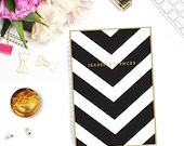 Personalized Notebook - V Stripe - Custom Stationery Monogram Journal Black White