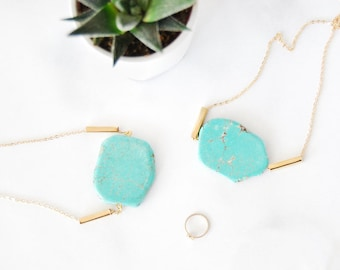 NEW Turquoise Gemstone Necklace - One of A Kind Unique Shapes Collection - Howlite - Semi Precious - Ready to Ship - Gift for Her