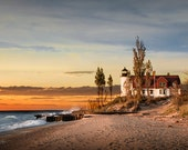Point Betsie Lighthouse at Sunset on Lake Michigan near Frankfort Michigan No.6603 Fine Art Lighthouse Seascape Photography