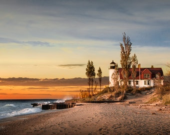 Point Betsie Lighthouse at Sunset on Lake Michigan near Frankfort Michigan No.6603 Fine Art Lighthouse Seascape Photography