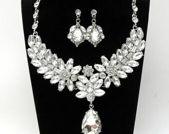 Crystal Wedding Jewelry Set Wedding Necklace Bridal Necklace Set Prom Jewelry Choker Necklace Prom Accessory Teardrop
