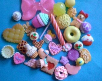 Kawaii big pink bow and sweets cabochon deco diy charm mix  more than 30 pcs    # 335---USA seller