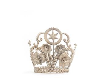 Crown Cake Topper, Pentagram, Silver Crown, Star Crown, Wedding Cake Topper
