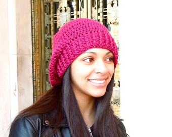 Crochet Slouchy Hat, Women, Men, Teen, Tam, Berry, Ready To Ship