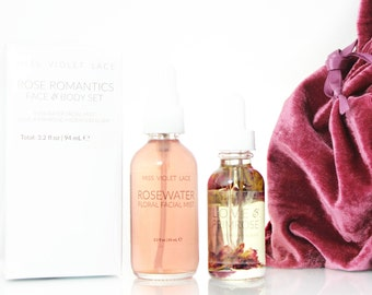 Rose Gift Set | Love & Primrose Body Oil + Rosewater | 100% natural and vegan set for her