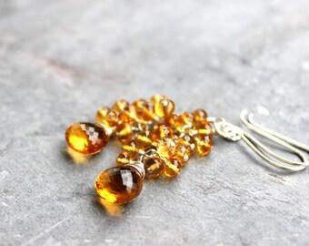 Citrine Earrings Amber Cascade Cluster Sterling Silver Beaded Gemstones November Birthstone