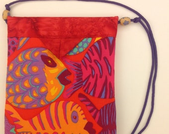 Tropical Fish Quilted Fabric Snap Bag Purse Handbag Handmade 7-1/2 x 8-1/2