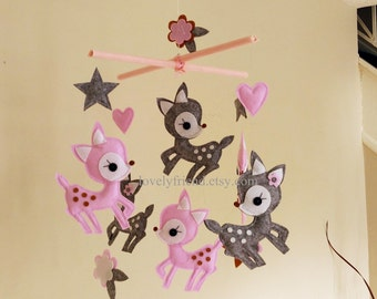 """Baby Crib Mobile - Baby Mobile - Decorative Nursery Mobile - Pink and Gray Deer Mobile - """"Six Little Deer and Hearts"""" (Pick your color)"""