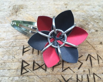 Scale Flower Hair Barrette,Red & Black Scale Flower Barrette,Scale Maille Barrette,Scale Mail Hair Clip,Red and Black Hair Flower