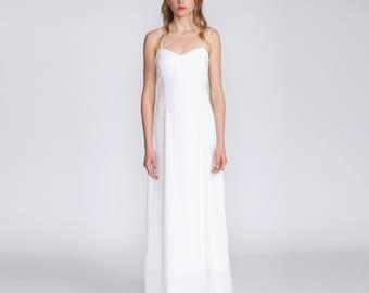 White Wedding dress, Gown, Infinity Dress, corset top,  white maxi dress, pearl straps, classic, spaghetti straps, elegant summer dress
