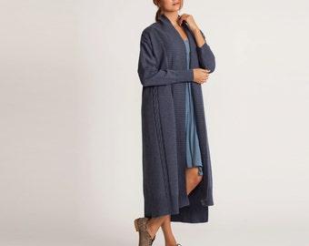 Denim Blue knitted cardigan, blue coat, cardigan sweater, blue knitted cardigan, Oversize Sweater, long sleeve cardigan, maxi length jacket
