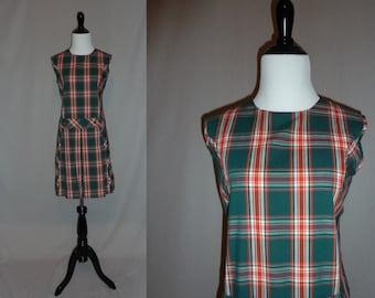 60s Plaid Dress - Sleeveless Summer Shift - Red Green White - Vintage 1960s - M L