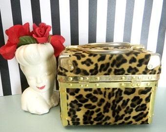 Vintage Leopard print beauty bag/Cheetah print beauty bag