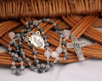 St. Francis and Pope Francis Rosary, Silver Crazy Lace Agate