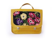 Sale Mustartd backpack with flowers, Leather yellow backpack, Mustard handbag with floral needlepoint