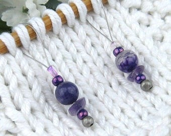 Stitch Markers, Knitting, Agate, Amethyst, Semi-Precious Stones, Purple, Snag Free, Jeweled Tool, Knitting Accessory, Gift for Knitters