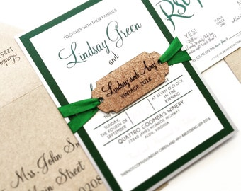 Winery Invitation with Wine Cork Tag -  SAMPLE