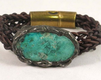 leather bracelet with green  stone brown braided