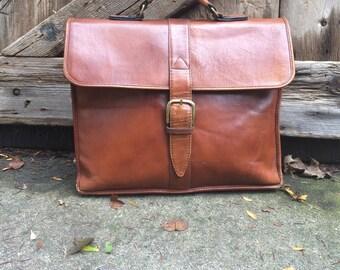 Leather Briefcase Portfolio Attache Vintage Honey Brown