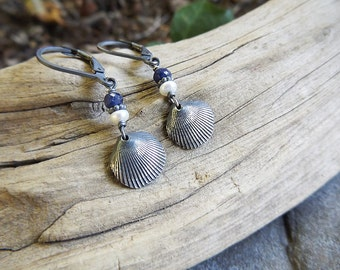 Tiny Clam Shell, Genuine Sapphire and  Pearl Earrings -Oxidized Fine Silver  by Quintessential Arts