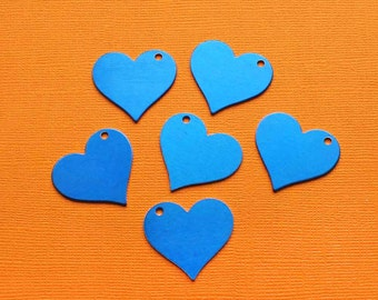 10 Aluminum Stamping Tags Anodized Aluminum Blue Hearts - MT375