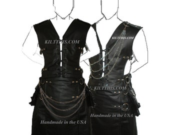 Interchangeable Leather Lace Up Vest Utilitykilt Set Custom Fit Adjustable created by Kilt This