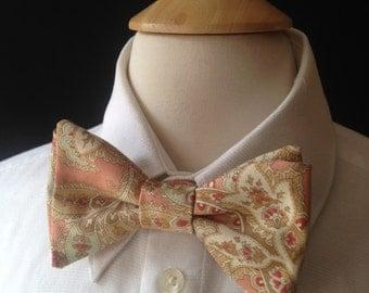Paisley Bow Ties / Pre-Tied Bow Ties / Bow Ties Men / Custom Made Wedding Bow Ties / Rustic Wedding / Handmade Bow Ties / Peach Mint Bow Tie