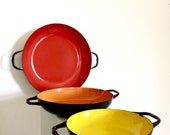 Enamelware Nesting Pan Set Colorful Mid Century Modern Polish Cookware Red Orange Yellow Coated Metal Skillets Vintage Retro Kitchen Decor