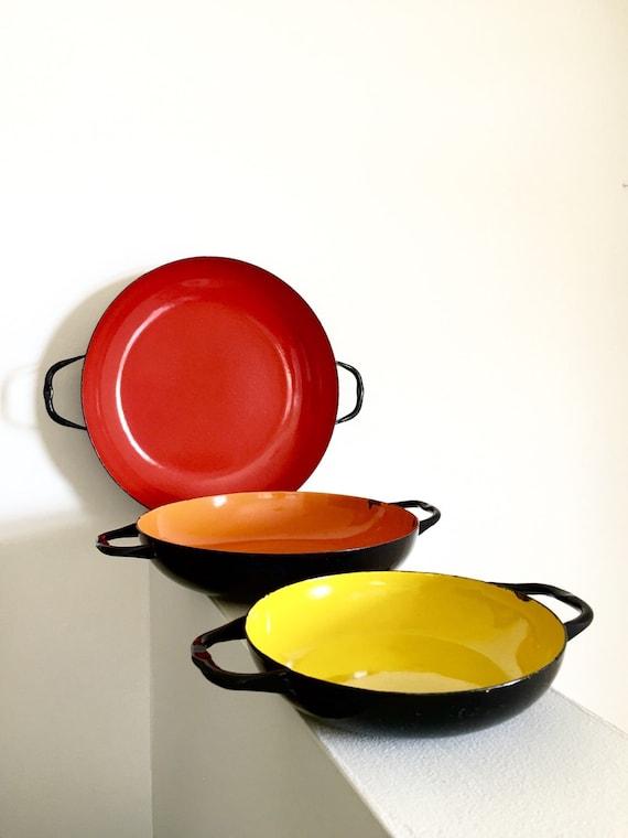 Enamelware Nesting Pan Set Colorful Mid Century Modern Polish