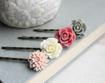 Rose Bobby Pin Dusty Rose Pink Floral Accessories Light Pale Peach Rose Hair Clip Sage Green Grey Rose Bobbies Flower for Hair Gift under 25
