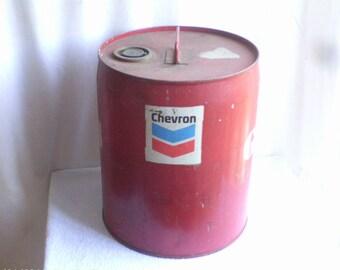 Vintage  Chevron  Large  Metal  Gas Can
