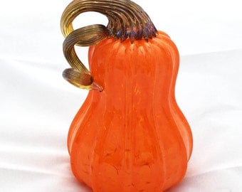 2016 Blown Glass Orange Pumpkin (Butternut Shape)