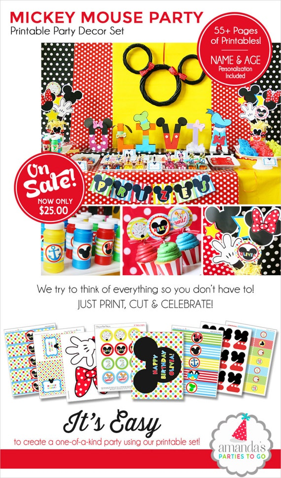 Mickey Mouse Birthday Decorations | Mickey Mouse Party Decorations | Mickey Mouse Clubhouse Birthday Printable | Amanda's Parties To Go