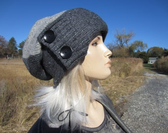 Thick Warm Winter Slouchy Hat Wool Beanie Gray Tweed Slouch Tams Women's BOHO Clothing A1797