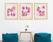 Flower Art Prints Watercolor Style, Watercolor Wall Art Prints Set of 3 , Pink Blue Flower Dining Room , Nursery Art Girl , Bathroom Wall