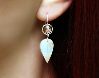 Sterling Silver Pink Crystal and Blush Mother of Pearl Leaf Earrings