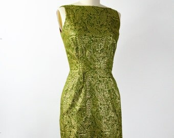 Sparkly Vintage Dress Small Green 1950s Shift Dress with Gold Metallic Brocade Dress with Train in Back by Clifton Wilhite