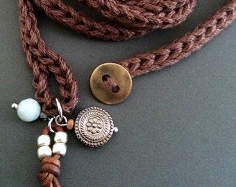 Cotton boho wrap bracelet with charms, brown, cuff bracelet, bohemian jewelry, crochet jewelry, fiber jewelry, fall fashion, coffycrochet