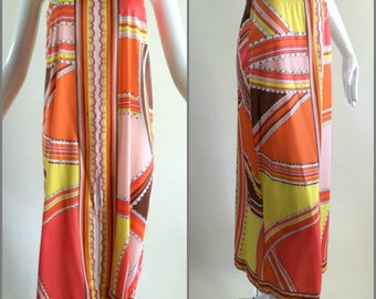ViNtAgE 60s 70 Emilio Pucci Maxi Skirt Coverup Gypsy Dress psychedelic Hippie Sheer Formfit Rogers Full Slip Goddess EPFR