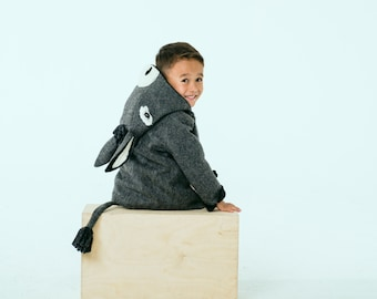 Boy's Burro Coat// Brave Little Burro Coat// Little Grey Donkey Jacket// Winter Outerwear// Handmade Boys Clothing// Eeyore Costume
