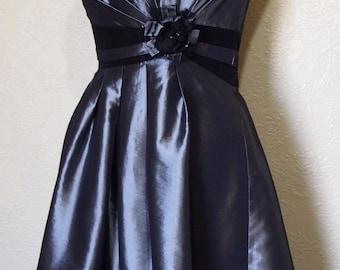 SALE...beautiful PLATINUM SATIN gunmetal gray satin dress brides maid dress mother of bride dress prom dress size 12