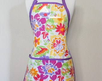 Womens Waterproof Utiltity Apron Crafters Apron in Bright Tropical Florals