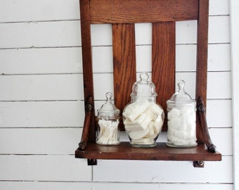 Repurposed Antique Chair Shelf, Wall Shelf, Bathroom Shelf, Wood Shelf, farmhouse style