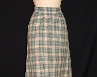 Cute vintage 40's 50's high waisted skirt blue grey white tartan plaid checkered swing bombshell pin up school girl wool -  size XS / S