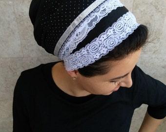 tichel, apron, head covering, aprons, oshrat, headband, headcovering, hair snood,s inar mitpachat by oshratDesignz